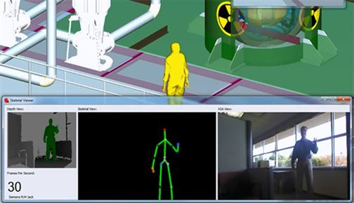 Kinect for Windows is used to capture realistic movement for use in the Siemens Teamcenter solution