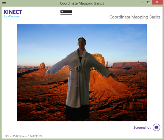Screenshot of the CoordinateMappingBasics-WPF demo application in the Kinect for Windows v2 SDK. Photo: Jim Galasyn