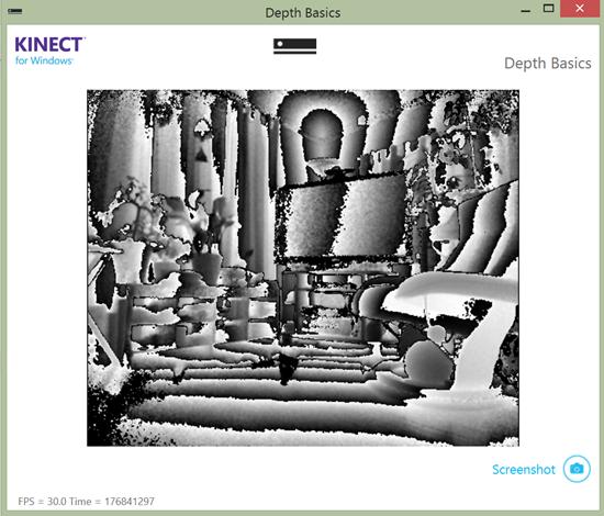 Screenshot of the DepthBasics-WPF demo application in the Kinect for Windows v2 SDK. Photo: Jim Galasyn