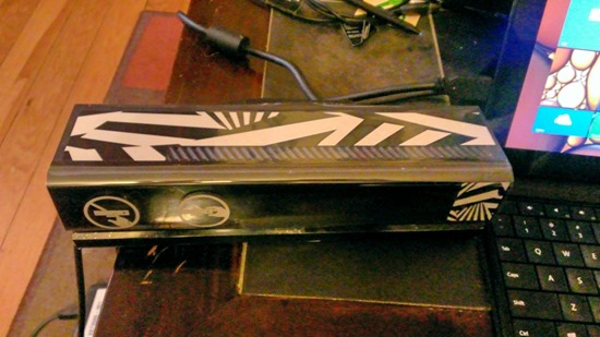 The Kinect for Windows v2 sensor, with snazzy decals. Photo: Jim Galasyn
