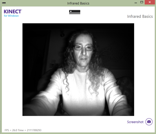 Screenshot of the InfraredBasics-WPF demo application in the Kinect for Windows v2 SDK. Photo: Jim Galasyn