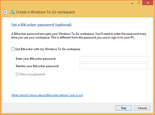 """Set a BitLocker password (optional)"" screen"