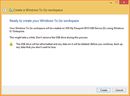 """Ready to create your Windows To Go workspace"" window"
