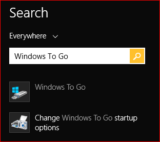 "press Win-Q to start the search, and enter ""Windows To Go"""