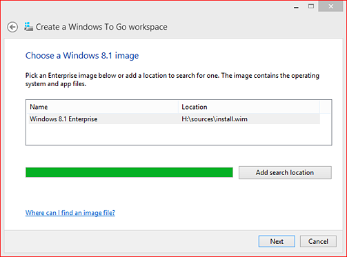 "Select your Windows 8.1 image and click ""Next."""